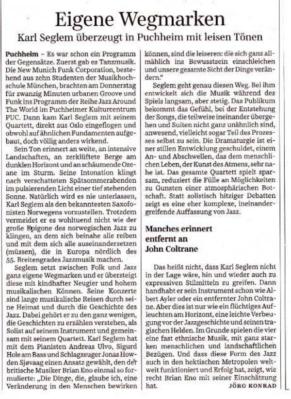 Süddeutsche Zeitung reviews our concert in Puchheim (2014)